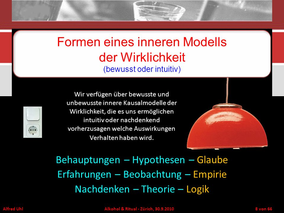 Alfred Uhl Alkohol & Ritual - Zürich, 30.9.2010 8 von 66 Formen eines inneren Modells der Wirklichkeit (bewusst oder intuitiv) Behauptungen – Hypothes