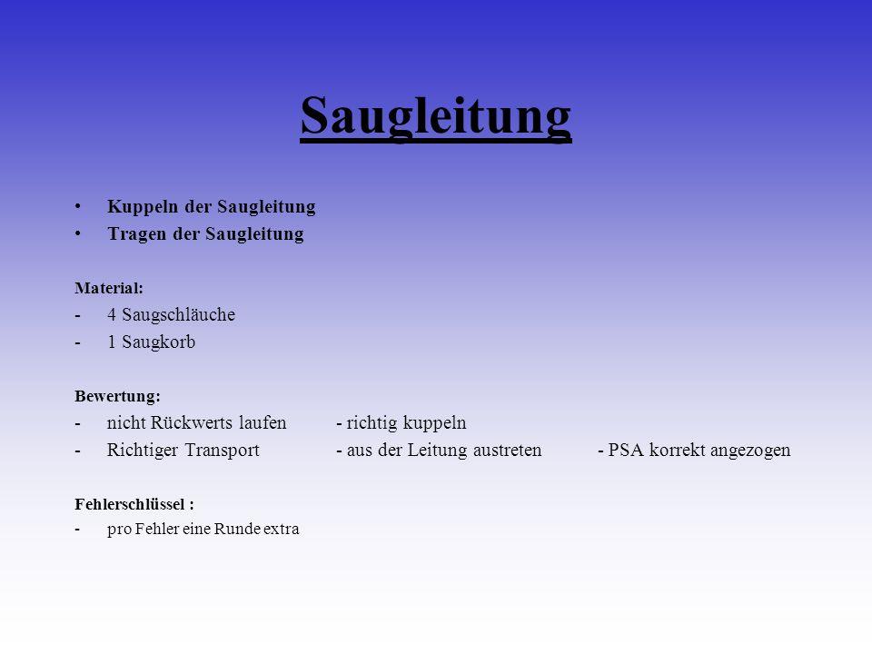 Saugleitung Kuppeln der Saugleitung Tragen der Saugleitung Material: -4 Saugschläuche -1 Saugkorb Bewertung: -nicht Rückwerts laufen- richtig kuppeln