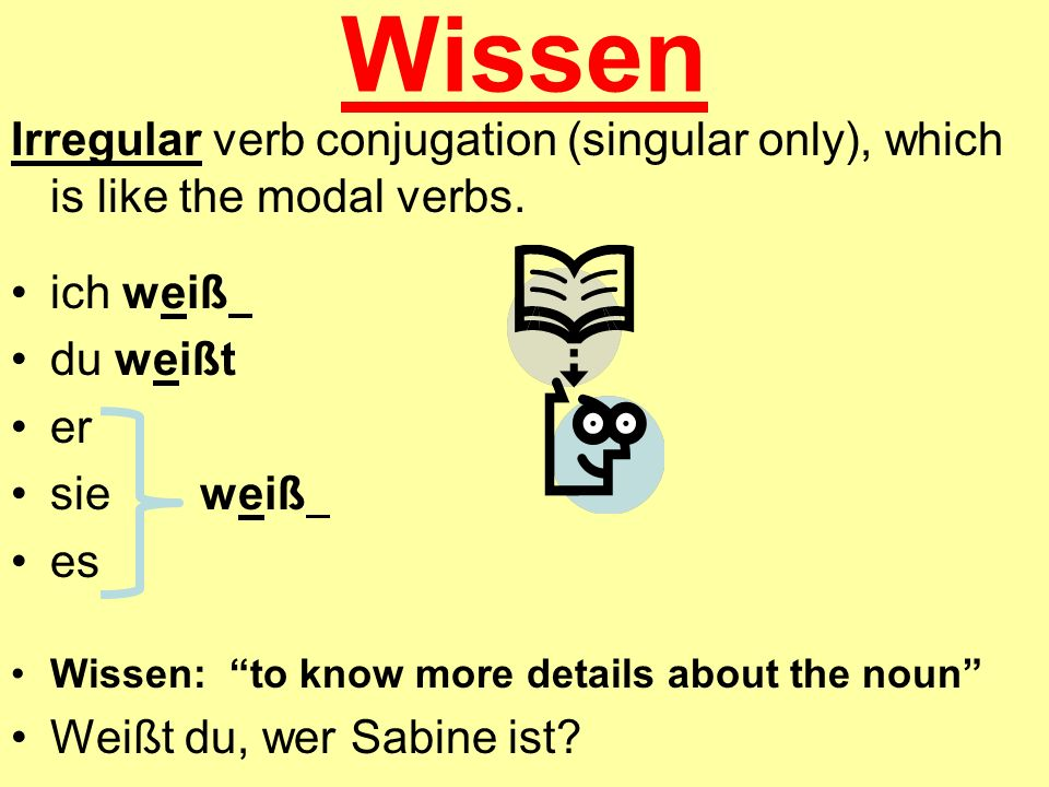Wissen Irregular verb conjugation (singular only), which is like the modal verbs. ich weiß du weißt er sie weiß es Wissen: to know more details about