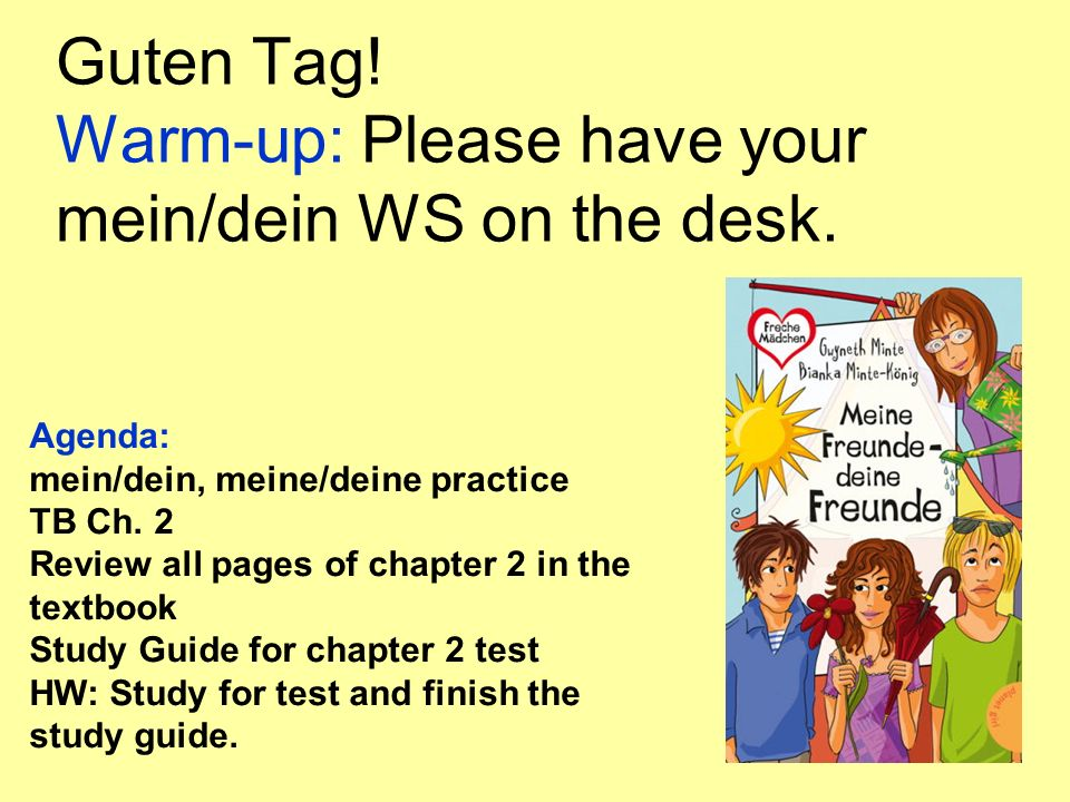 Guten Tag! Warm-up: Please have your mein/dein WS on the desk. Agenda: mein/dein, meine/deine practice TB Ch. 2 Review all pages of chapter 2 in the t