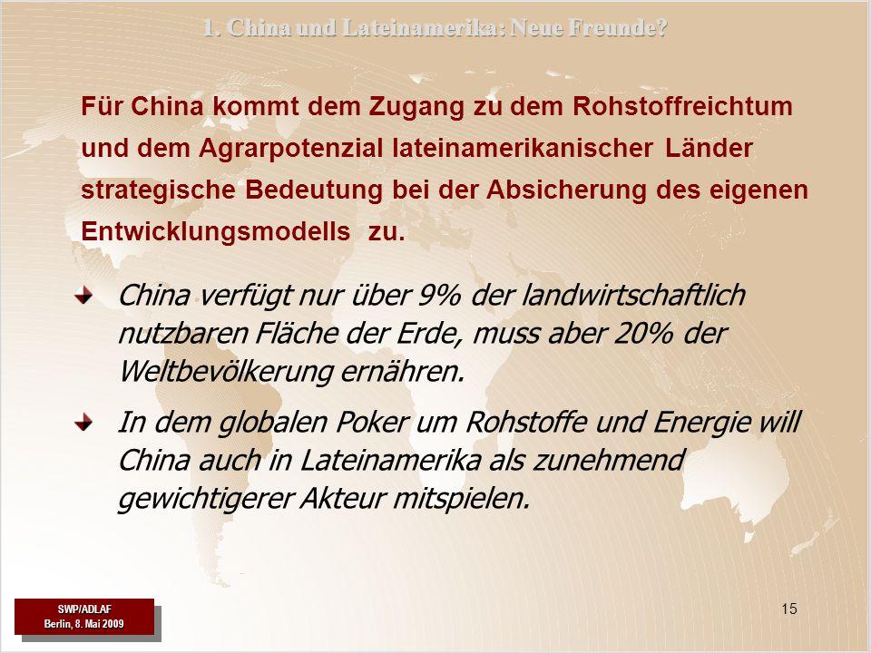 SWP/ADLAF Berlin, 8. Mai 2009 SWP/ADLAF 15 China verfügt nur über 9% der landwirtschaftlich nutzbaren Fläche der Erde, muss aber 20% der Weltbevölkeru