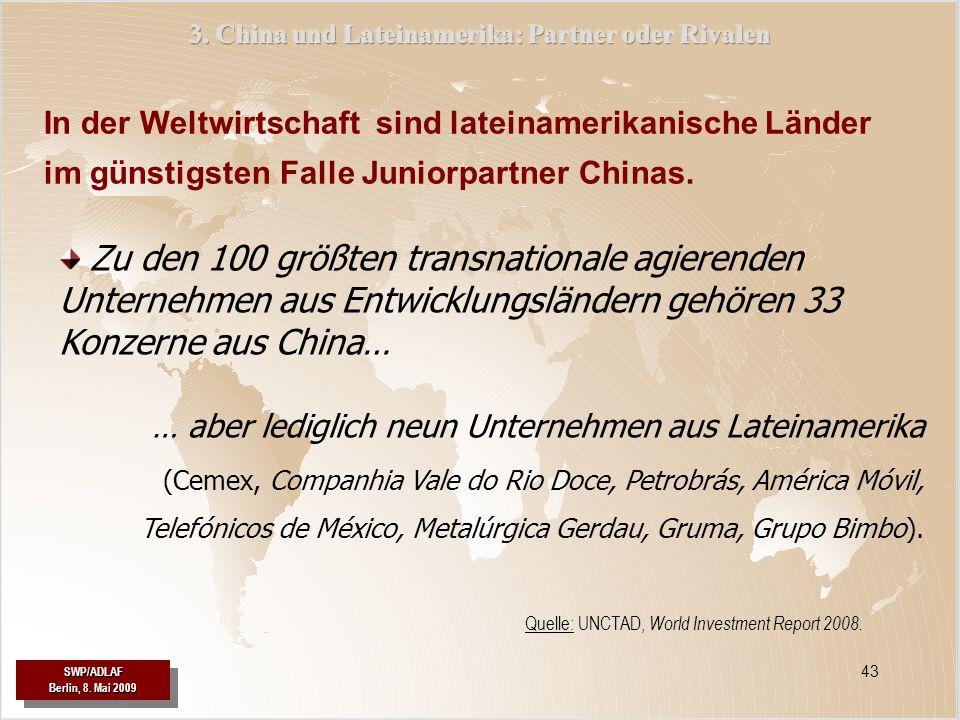 SWP/ADLAF Berlin, 8. Mai 2009 SWP/ADLAF 43 In der Weltwirtschaft sind lateinamerikanische Länder im günstigsten Falle Juniorpartner Chinas. … aber led