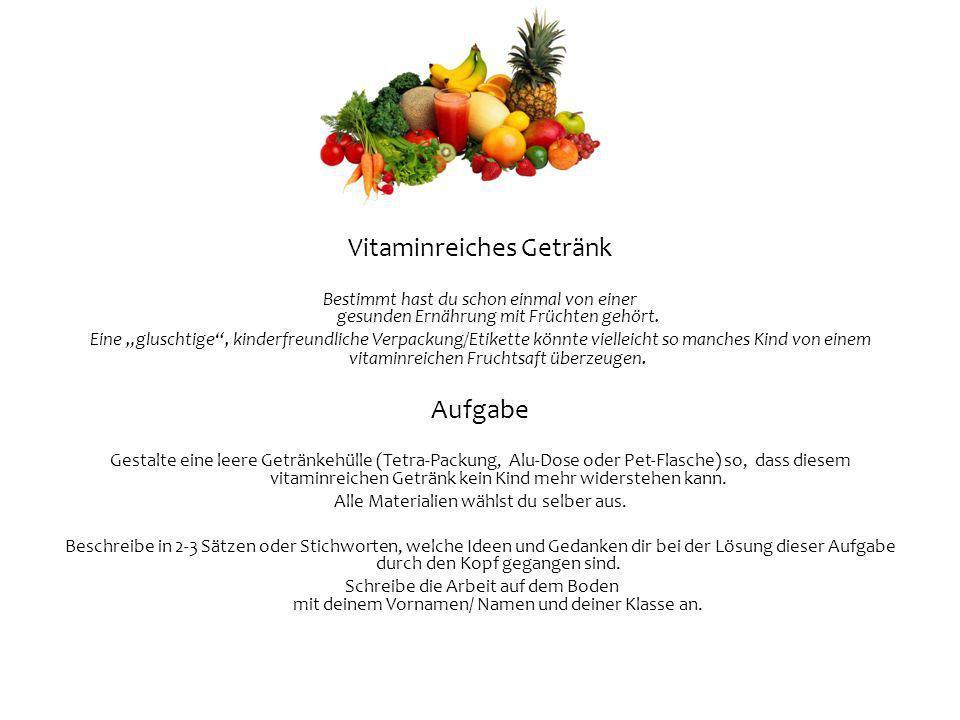 Vitaminreiches Getränk Bestimmt hast du schon einmal von einer gesunden Ernährung mit Früchten gehört. Eine gluschtige, kinderfreundliche Verpackung/E