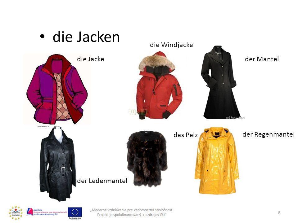 6 die Jacken die Jacke die Windjacke der Ledermantel der Mantel das Pelz der Regenmantel