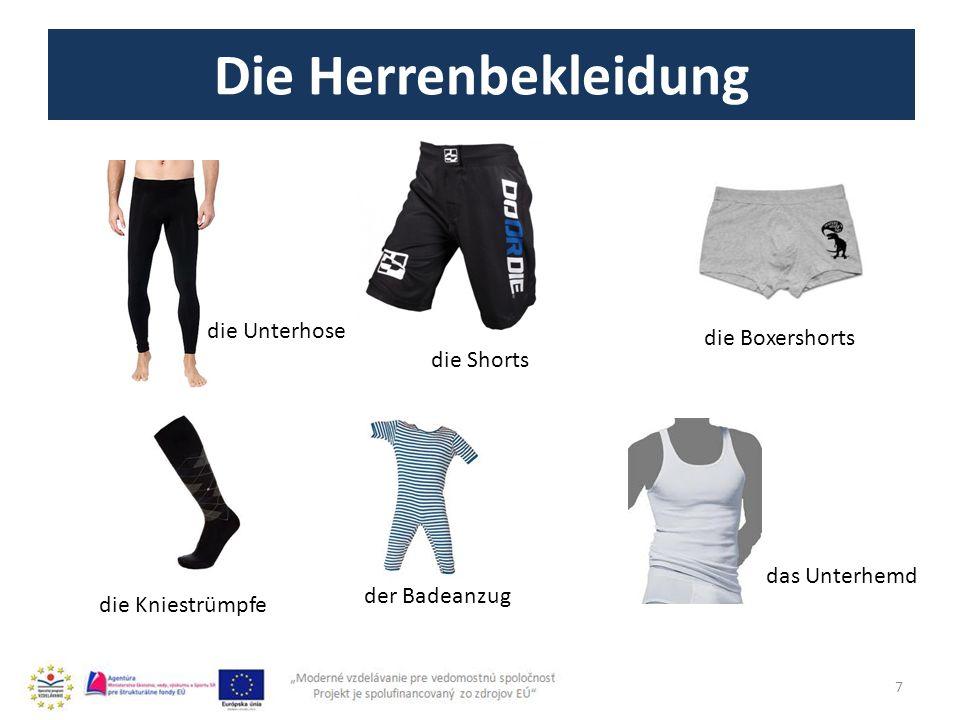 Die Herrenbekleidung 7 die Unterhose die Shorts die Boxershorts die Kniestrümpfe der Badeanzug das Unterhemd