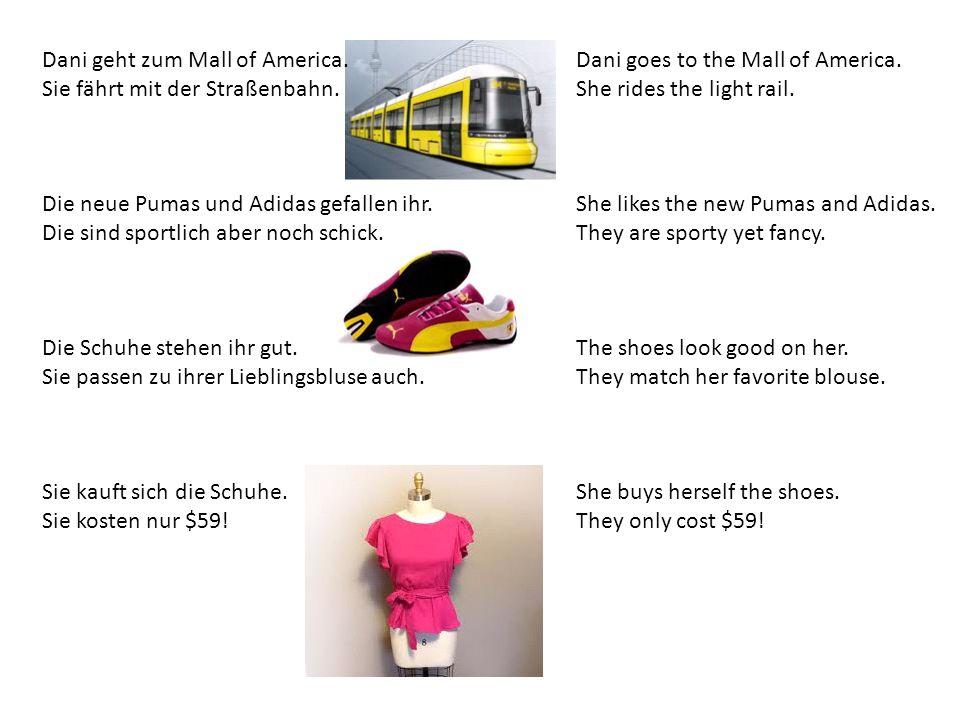 Dani geht zum Mall of America. Sie fährt mit der Straßenbahn. Die neue Pumas und Adidas gefallen ihr. Die sind sportlich aber noch schick. Die Schuhe