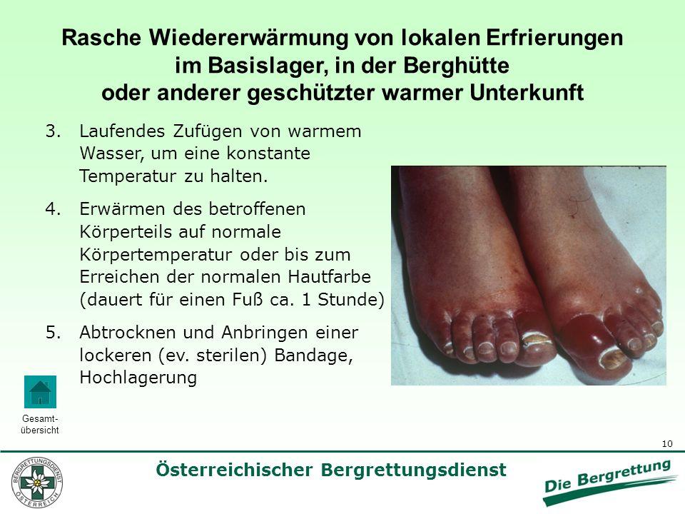 10 Österreichischer Bergrettungsdienst Gesamt- übersicht Rasche Wiedererwärmung von lokalen Erfrierungen im Basislager, in der Berghütte oder anderer