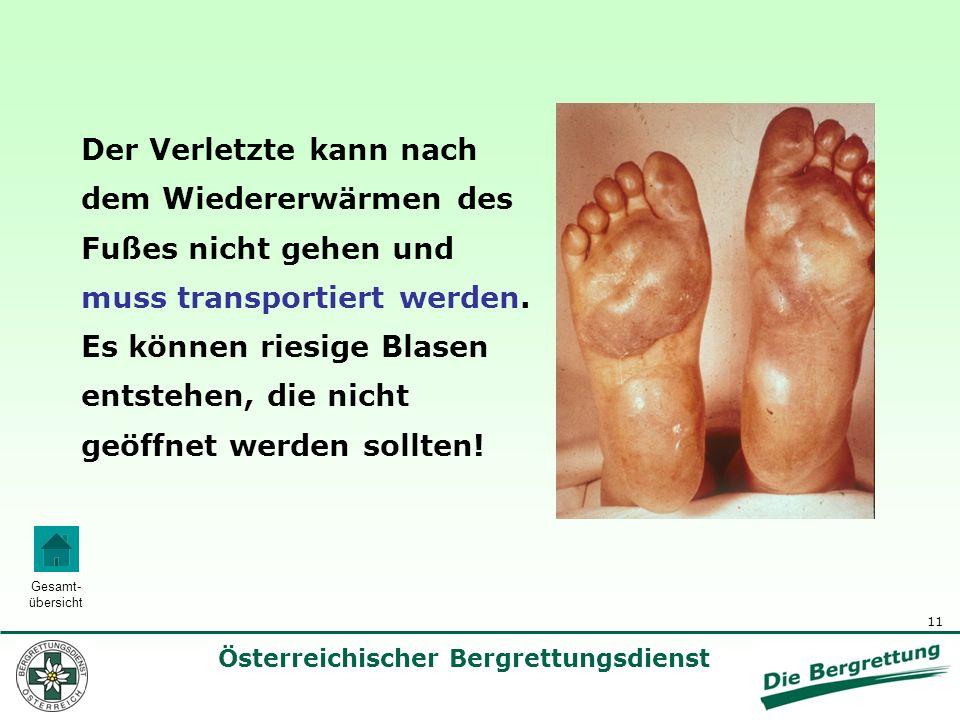 11 Österreichischer Bergrettungsdienst Gesamt- übersicht Der Verletzte kann nach dem Wiedererwärmen des Fußes nicht gehen und muss transportiert werde