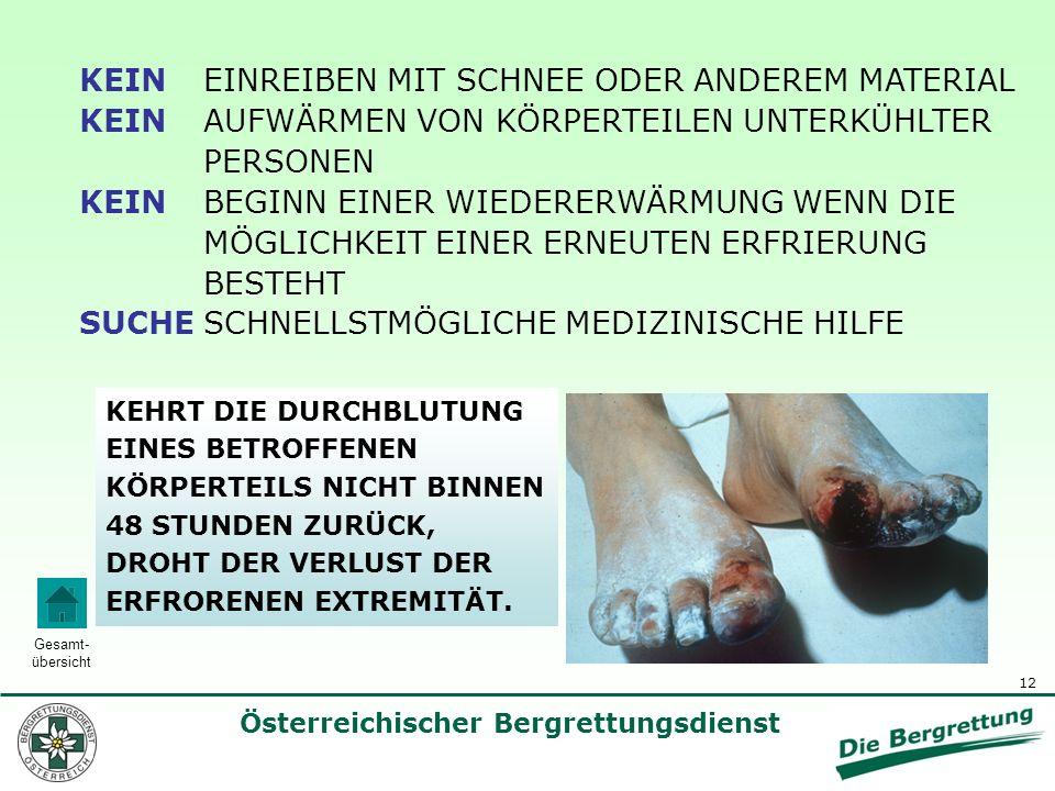 12 Österreichischer Bergrettungsdienst Gesamt- übersicht KEIN EINREIBEN MIT SCHNEE ODER ANDEREM MATERIAL KEIN AUFWÄRMEN VON KÖRPERTEILEN UNTERKÜHLTER