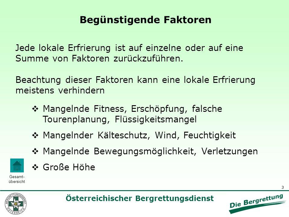 4 Österreichischer Bergrettungsdienst Gesamt- übersicht Vorangegangene Erfrierungen Erschwerte Blutzirkulation (Klettergurte, enge Schuhe, Armbanduhren, Ringe, etc.) Alkohol, Nikotin, Medikamente Vorbestehende Erkrankungen (Zuckerkrankheit, Durchblutungsstörungen) Vorbeugung: Wasserundurchlässige Schuhe, gut isolierende Handschuhe Begünstigende Faktoren