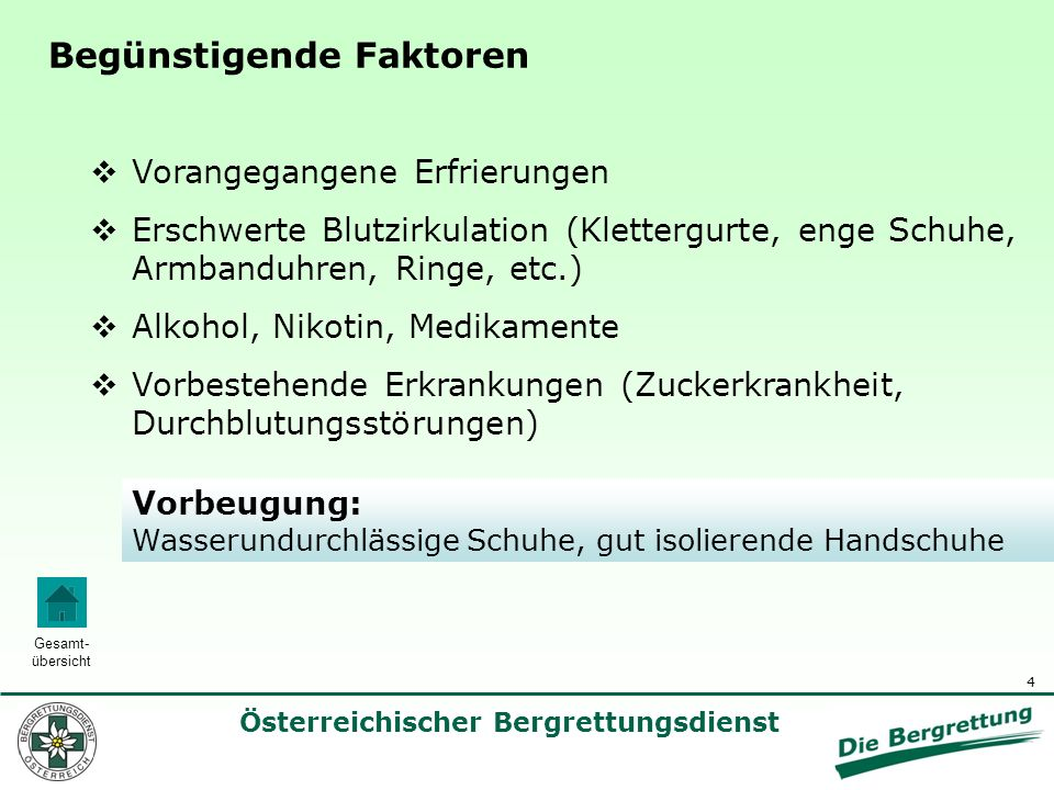 5 Österreichischer Bergrettungsdienst Gesamt- übersicht Zeichen und Symptome 1.Fahle blasse Haut mit Taubheitsgefühl 2.Zunehmender Verlust der Sensibilität ohne Schmerzen