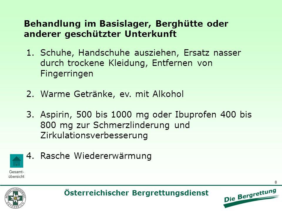 9 Österreichischer Bergrettungsdienst Gesamt- übersicht Rasche Wiedererwärmung von lokalen Erfrierungen im Basislager, in der Berghütte oder anderer geschützter warmer Unterkunft.