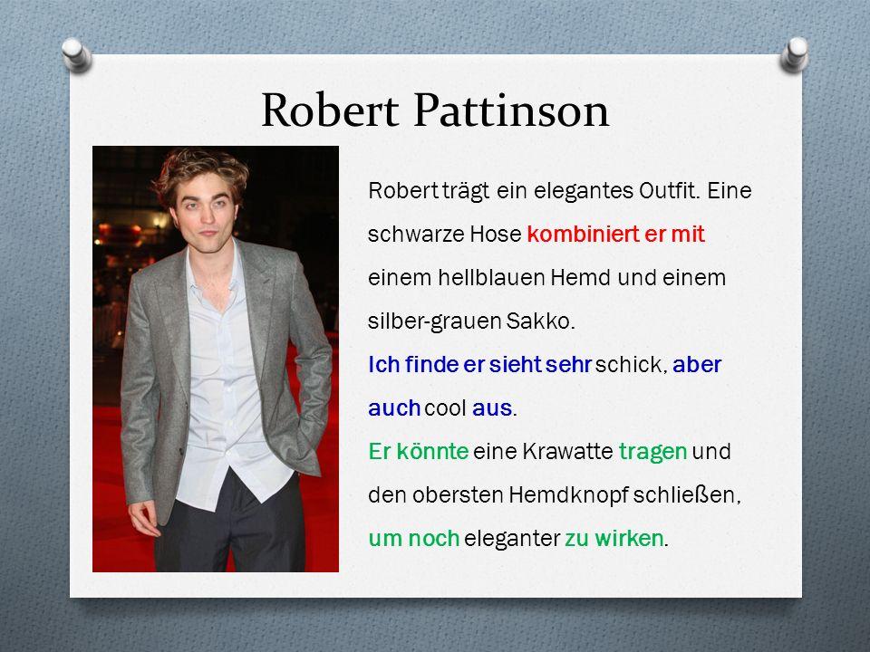 Robert Pattinson Robert trägt ein elegantes Outfit. Eine schwarze Hose kombiniert er mit einem hellblauen Hemd und einem silber-grauen Sakko. Ich find