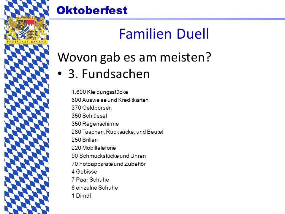 Oktoberfest Familien Duell Wovon gab es am meisten? 3. Fundsachen 1.600 Kleidungsstücke 600 Ausweise und Kreditkarten 370 Geldbörsen 350 Schlüssel 350