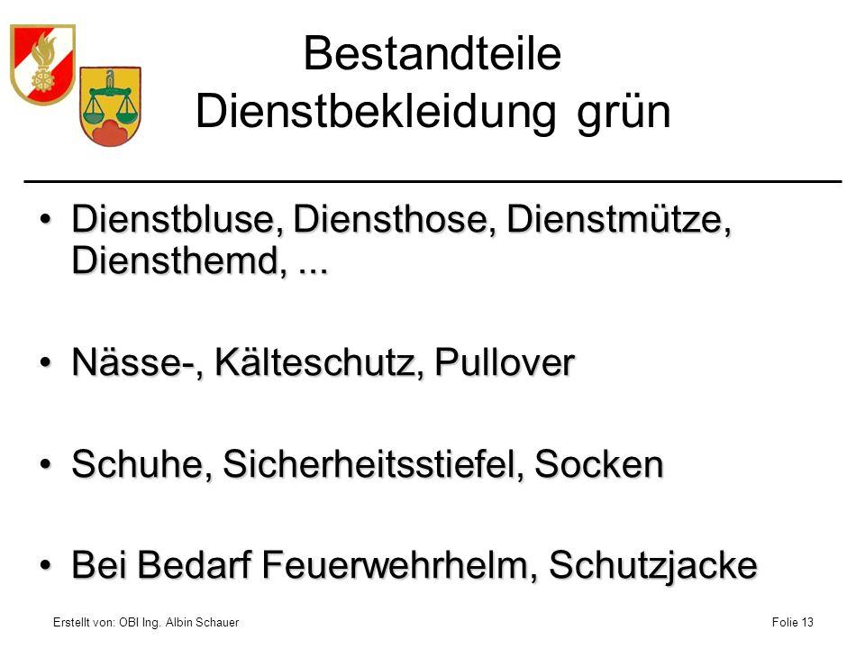 Erstellt von: OBI Ing. Albin SchauerFolie 13 Bestandteile Dienstbekleidung grün Dienstbluse, Diensthose, Dienstmütze, Diensthemd,...Dienstbluse, Diens