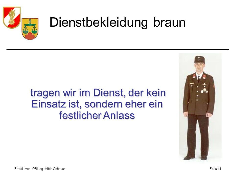 Erstellt von: OBI Ing. Albin SchauerFolie 14 Dienstbekleidung braun tragen wir im Dienst, der kein Einsatz ist, sondern eher ein festlicher Anlass tra