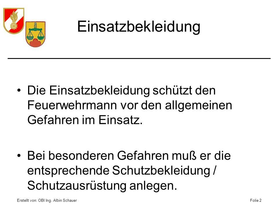 Erstellt von: OBI Ing. Albin SchauerFolie 2 Einsatzbekleidung Die Einsatzbekleidung schützt den Feuerwehrmann vor den allgemeinen Gefahren im Einsatz.