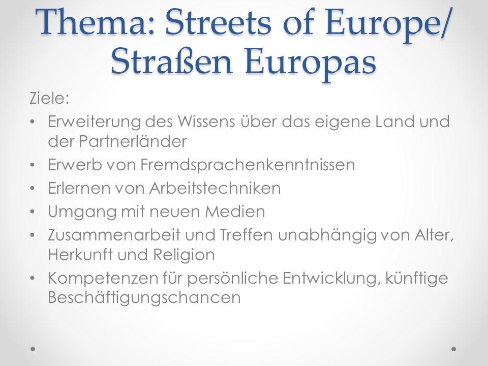 Thema: Streets of Europe/ Straßen Europas Ziele: Erweiterung des Wissens über das eigene Land und der Partnerländer Erwerb von Fremdsprachenkenntnisse
