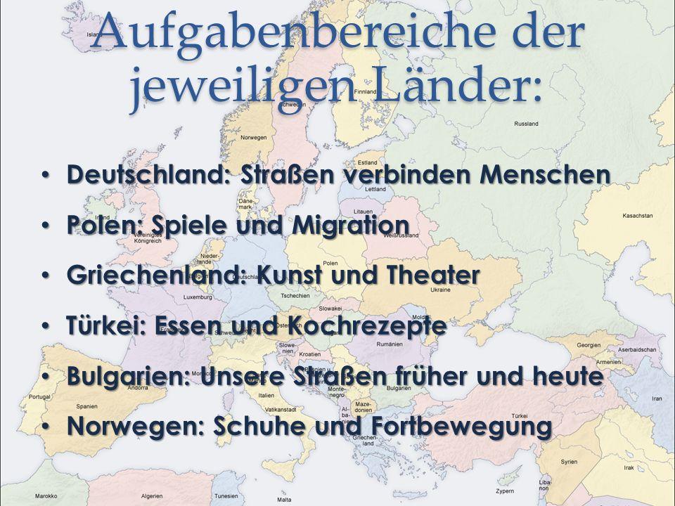 Aufgabenbereiche der jeweiligen Länder: Deutschland: Straßen verbinden Menschen Deutschland: Straßen verbinden Menschen Polen: Spiele und Migration Po
