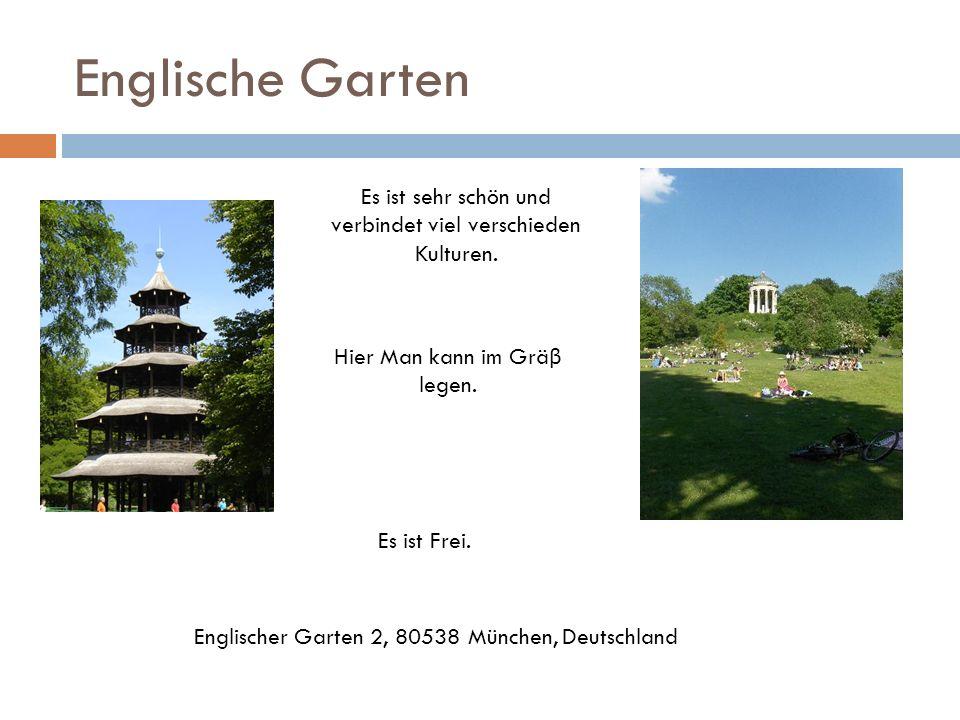 Englische Garten Es ist Frei. Es ist sehr schön und verbindet viel verschieden Kulturen. Hier Man kann im Grä β legen. Englischer Garten 2, 80538 Münc