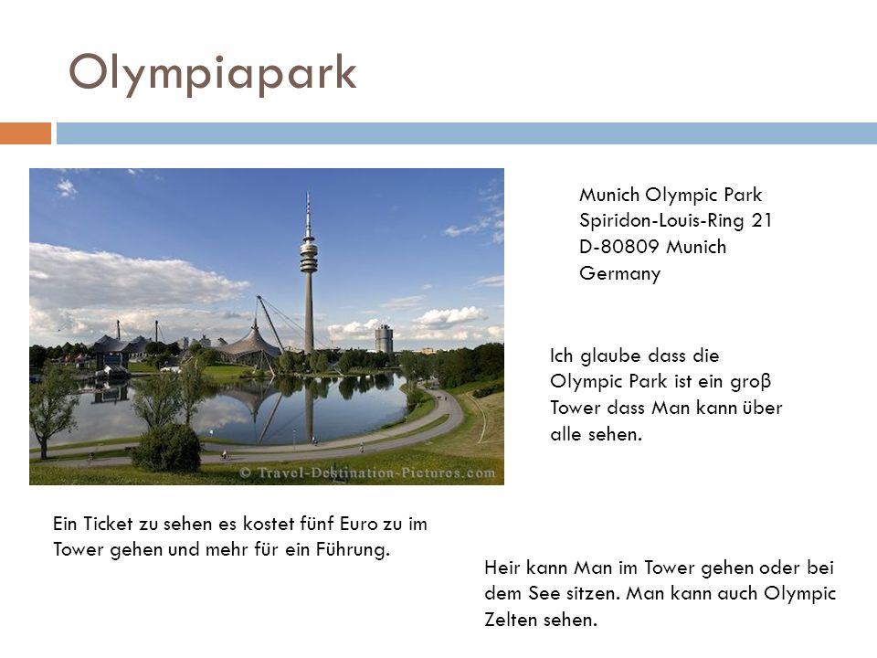 Olympiapark Ein Ticket zu sehen es kostet fünf Euro zu im Tower gehen und mehr für ein Führung. Heir kann Man im Tower gehen oder bei dem See sitzen.