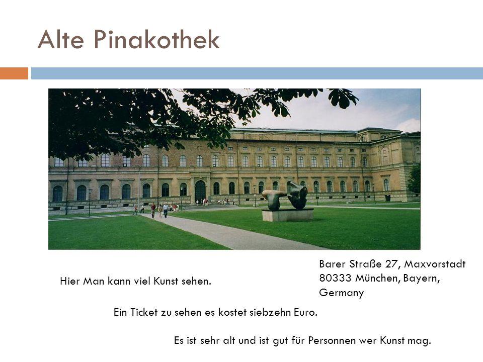 Alte Pinakothek Ein Ticket zu sehen es kostet siebzehn Euro. Es ist sehr alt und ist gut für Personnen wer Kunst mag. Hier Man kann viel Kunst sehen.
