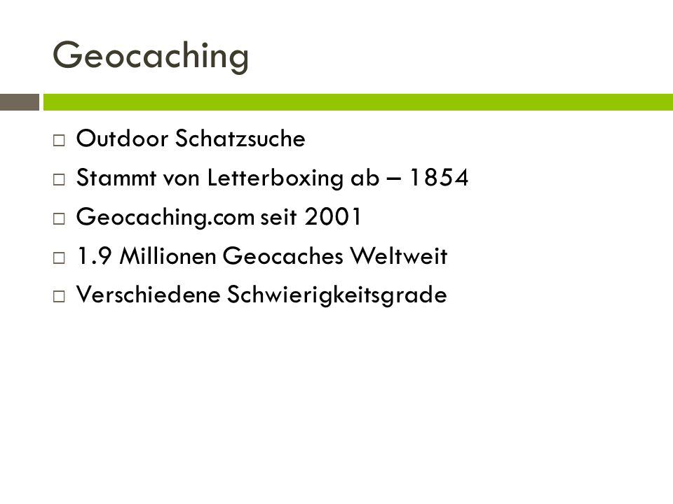 Geocaching Outdoor Schatzsuche Stammt von Letterboxing ab – 1854 Geocaching.com seit 2001 1.9 Millionen Geocaches Weltweit Verschiedene Schwierigkeits