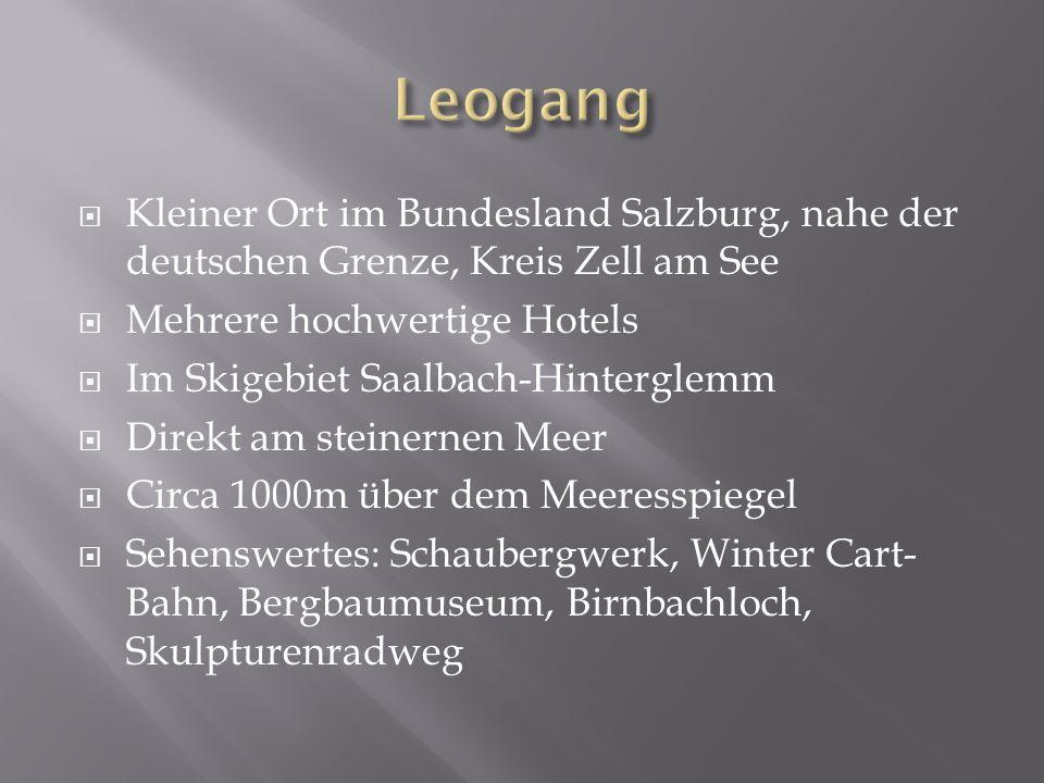 Kleiner Ort im Bundesland Salzburg, nahe der deutschen Grenze, Kreis Zell am See Mehrere hochwertige Hotels Im Skigebiet Saalbach-Hinterglemm Direkt am steinernen Meer Circa 1000m über dem Meeresspiegel Sehenswertes: Schaubergwerk, Winter Cart- Bahn, Bergbaumuseum, Birnbachloch, Skulpturenradweg