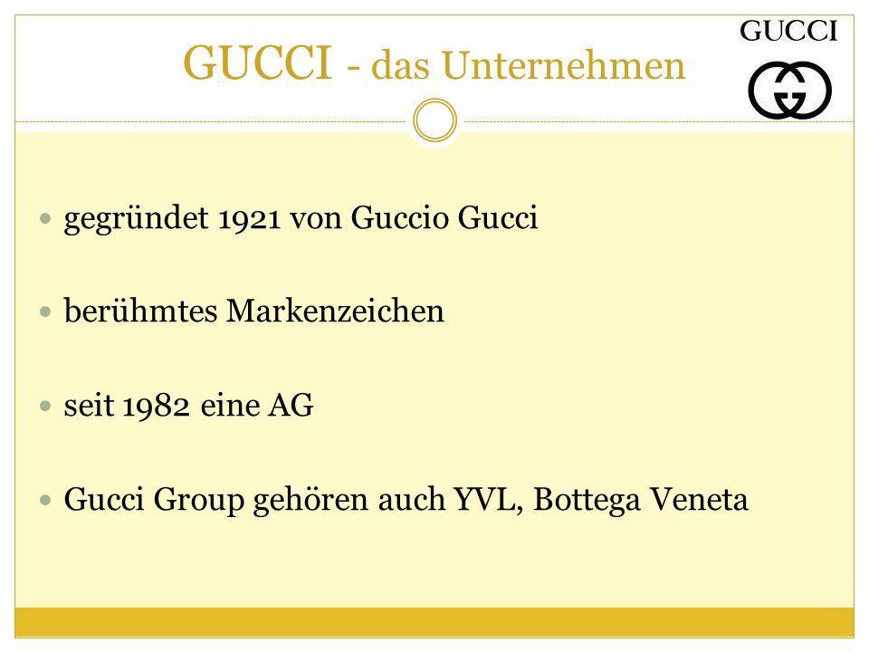 GUCCI - das Unternehmen gegründet 1921 von Guccio Gucci berühmtes Markenzeichen seit 1982 eine AG Gucci Group gehören auch YVL, Bottega Veneta