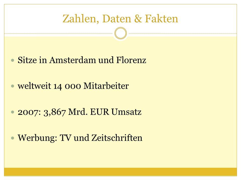 Zahlen, Daten & Fakten Sitze in Amsterdam und Florenz weltweit 14 000 Mitarbeiter 2007: 3,867 Mrd. EUR Umsatz Werbung: TV und Zeitschriften