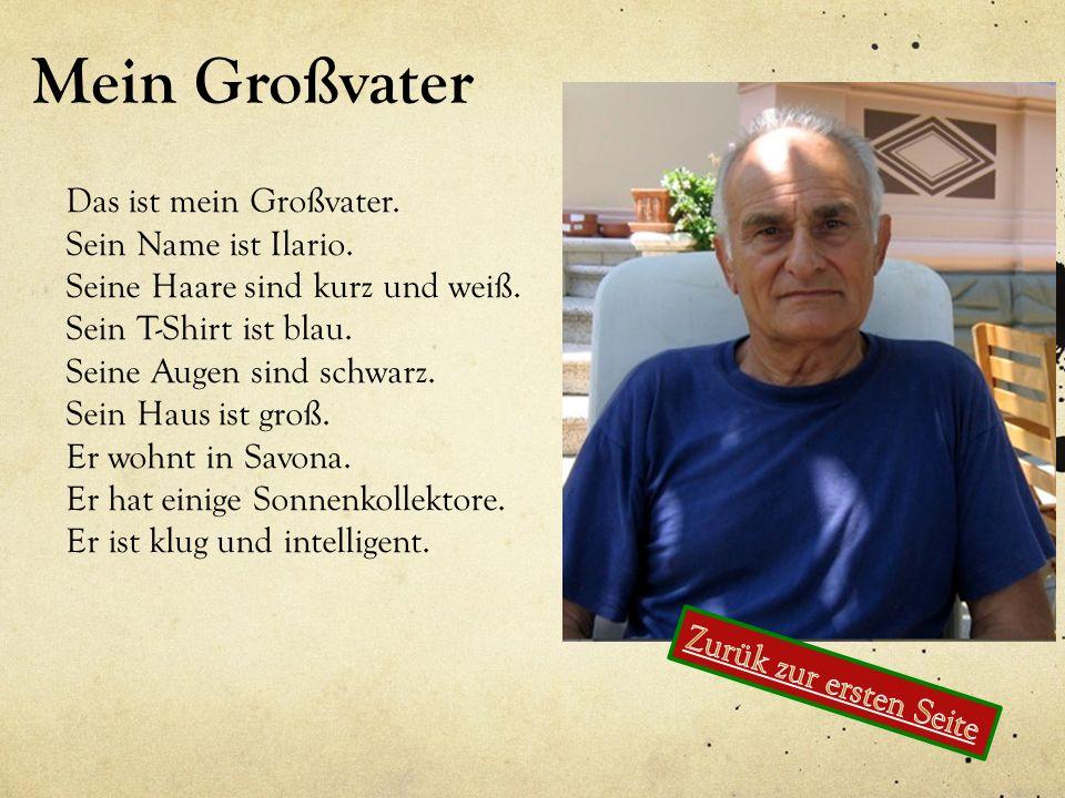 Mein Großvater Das ist mein Großvater. Sein Name ist Ilario. Seine Haare sind kurz und weiß. Sein T-Shirt ist blau. Seine Augen sind schwarz. Sein Hau