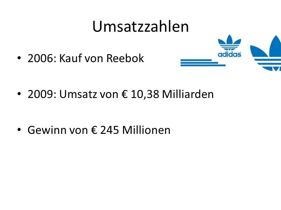 Umsatzzahlen 2006: Kauf von Reebok 2009: Umsatz von 10,38 Milliarden Gewinn von 245 Millionen
