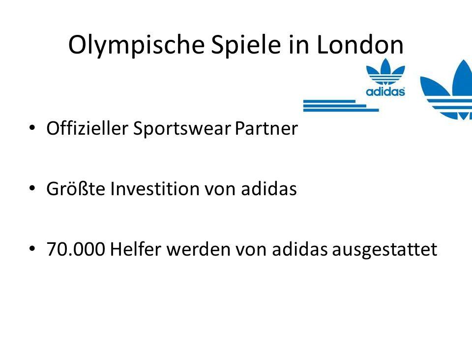 Olympische Spiele in London Offizieller Sportswear Partner Größte Investition von adidas 70.000 Helfer werden von adidas ausgestattet