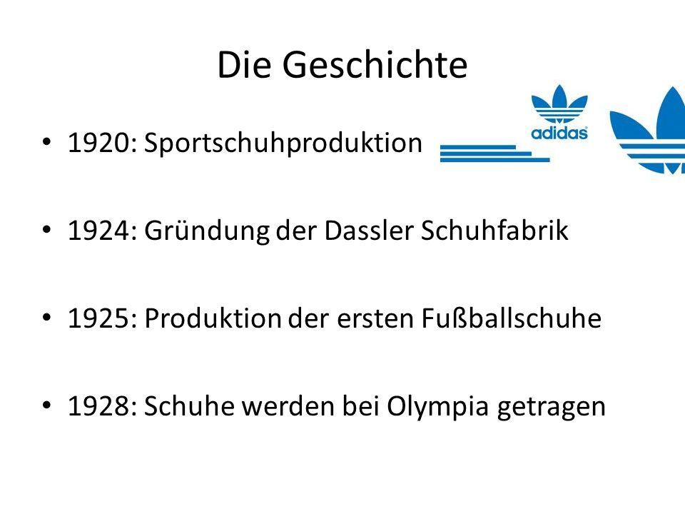 Die Geschichte 1920: Sportschuhproduktion 1924: Gründung der Dassler Schuhfabrik 1925: Produktion der ersten Fußballschuhe 1928: Schuhe werden bei Oly