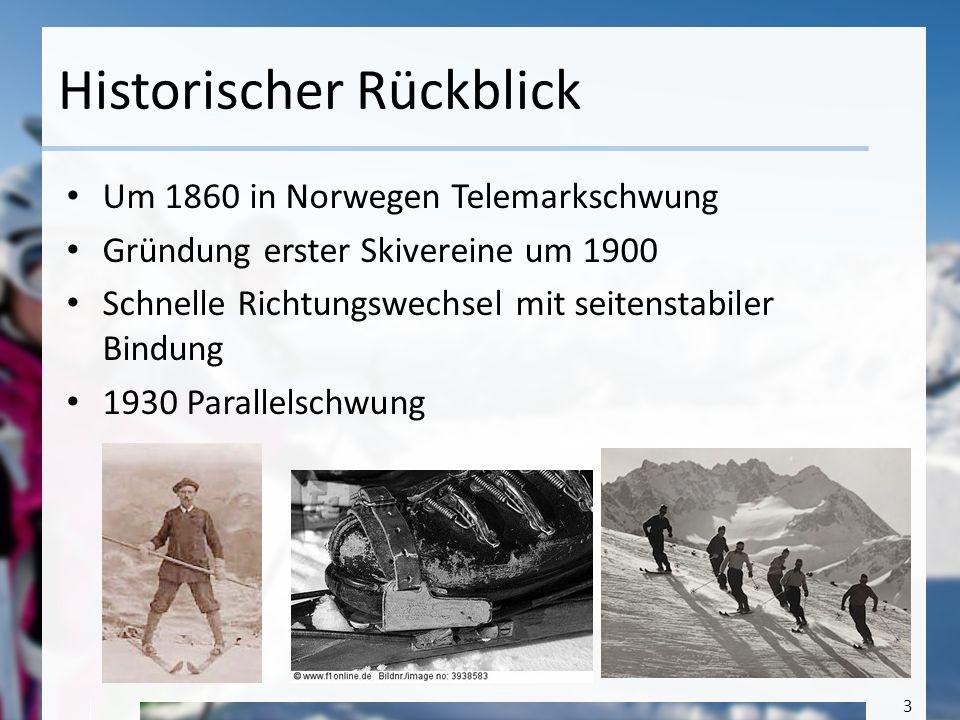 3 Historischer Rückblick Um 1860 in Norwegen Telemarkschwung Gründung erster Skivereine um 1900 Schnelle Richtungswechsel mit seitenstabiler Bindung 1