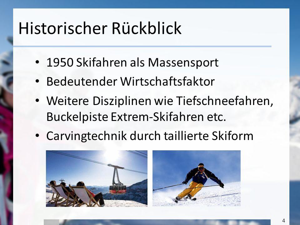 4 Historischer Rückblick 1950 Skifahren als Massensport Bedeutender Wirtschaftsfaktor Weitere Disziplinen wie Tiefschneefahren, Buckelpiste Extrem-Ski