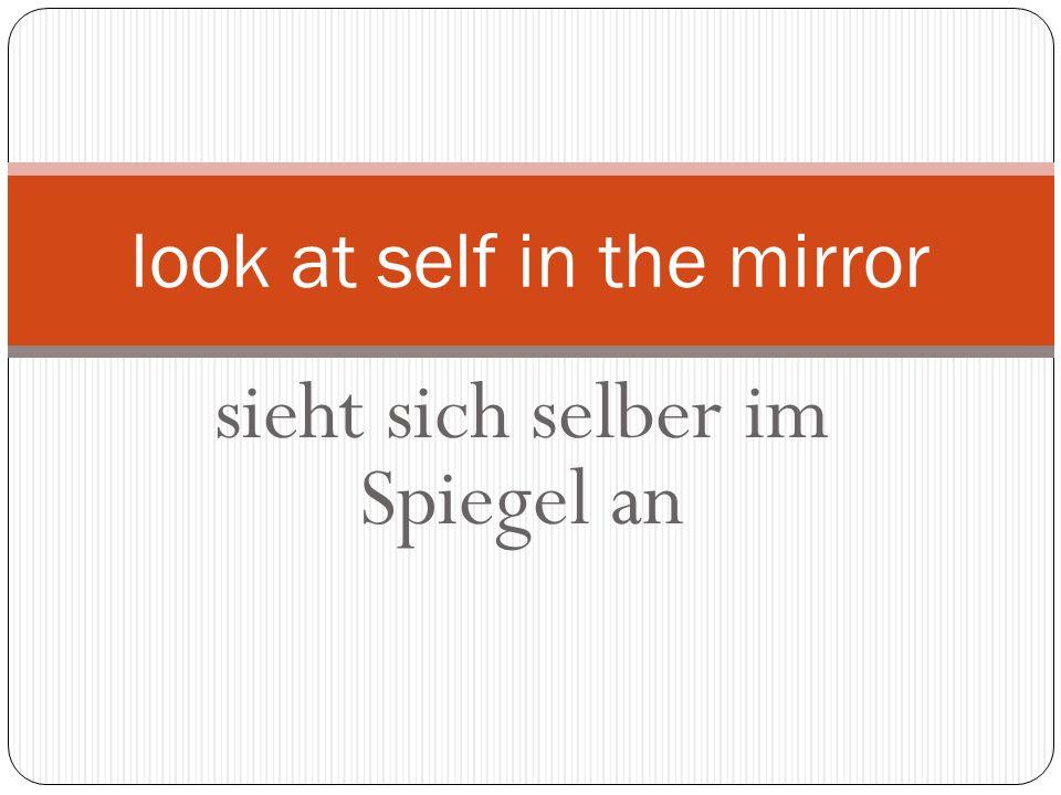 sieht sich selber im Spiegel an look at self in the mirror