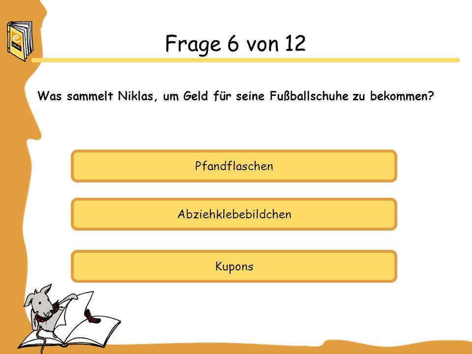Pfandflaschen Abziehklebebildchen Kupons Frage 6 von 12 Was sammelt Niklas, um Geld für seine Fußballschuhe zu bekommen?