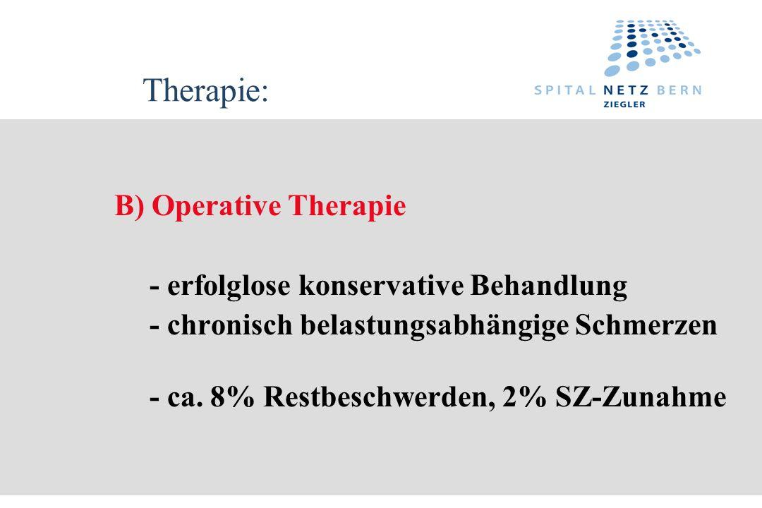 Therapie: B) Operative Therapie - erfolglose konservative Behandlung - chronisch belastungsabhängige Schmerzen - ca. 8% Restbeschwerden, 2% SZ-Zunahme