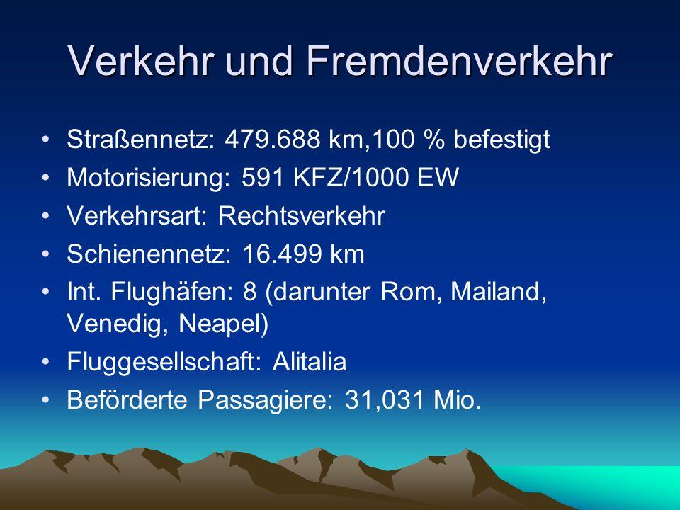 Verkehr und Fremdenverkehr Straßennetz: 479.688 km,100 % befestigt Motorisierung: 591 KFZ/1000 EW Verkehrsart: Rechtsverkehr Schienennetz: 16.499 km I