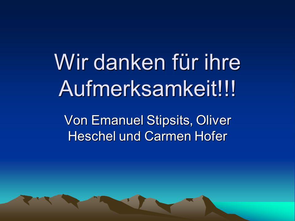 Wir danken für ihre Aufmerksamkeit!!! Von Emanuel Stipsits, Oliver Heschel und Carmen Hofer