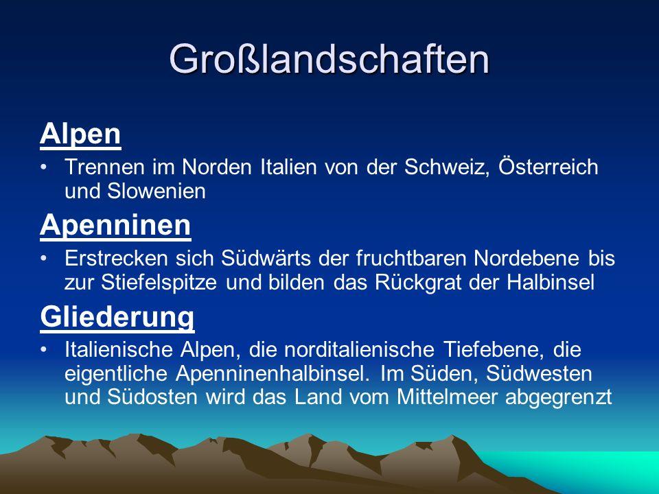 Landschaftsformen Küstenlänge: 7.600 km Hochgebirge: Alpen mit dem Mont Blanc an der französischen Grenze (4.807 m) und Mont Rosa (4.634 m) an der Schweizer Grenze.