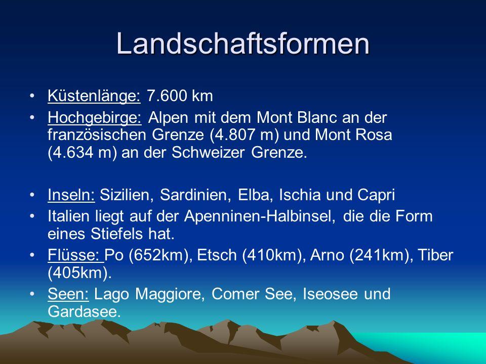 Landschaftsformen Küstenlänge: 7.600 km Hochgebirge: Alpen mit dem Mont Blanc an der französischen Grenze (4.807 m) und Mont Rosa (4.634 m) an der Sch