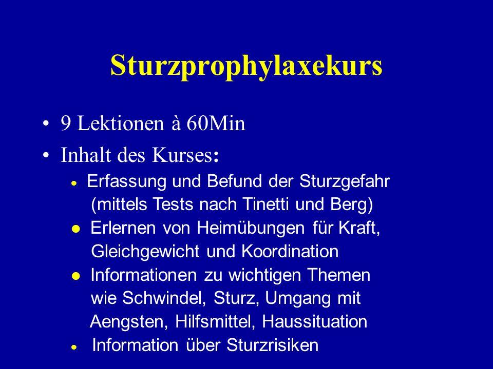 Sturzprophylaxe-Kurs Das Sturzrisiko nimmt beim alternden Menschen stetig zu. Stürze sind oft Ursache einer Hospitalisation und des Verlusts der Selbs
