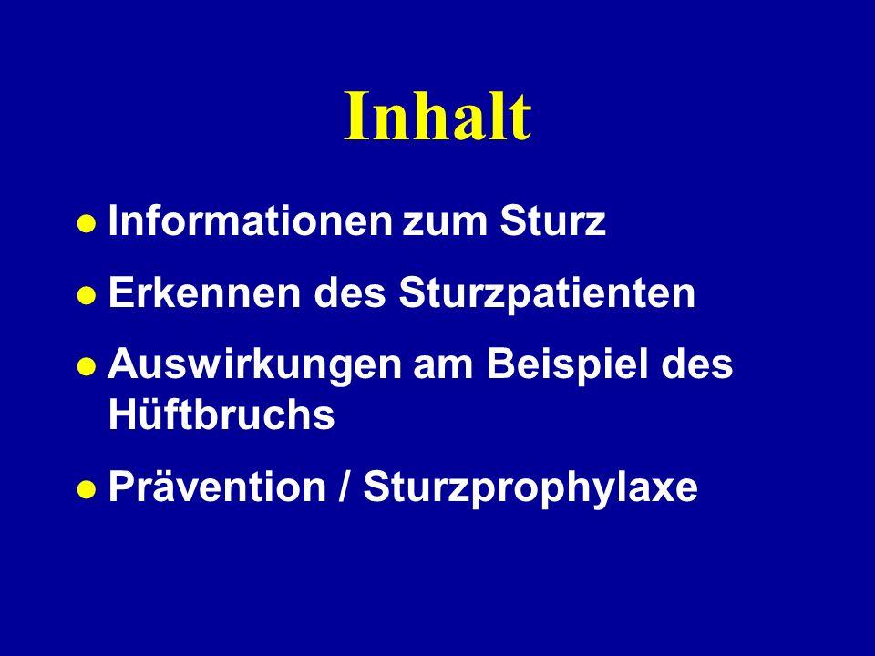Inhalt Informationen zum Sturz Erkennen des Sturzpatienten Auswirkungen am Beispiel des Hüftbruchs Prävention / Sturzprophylaxe