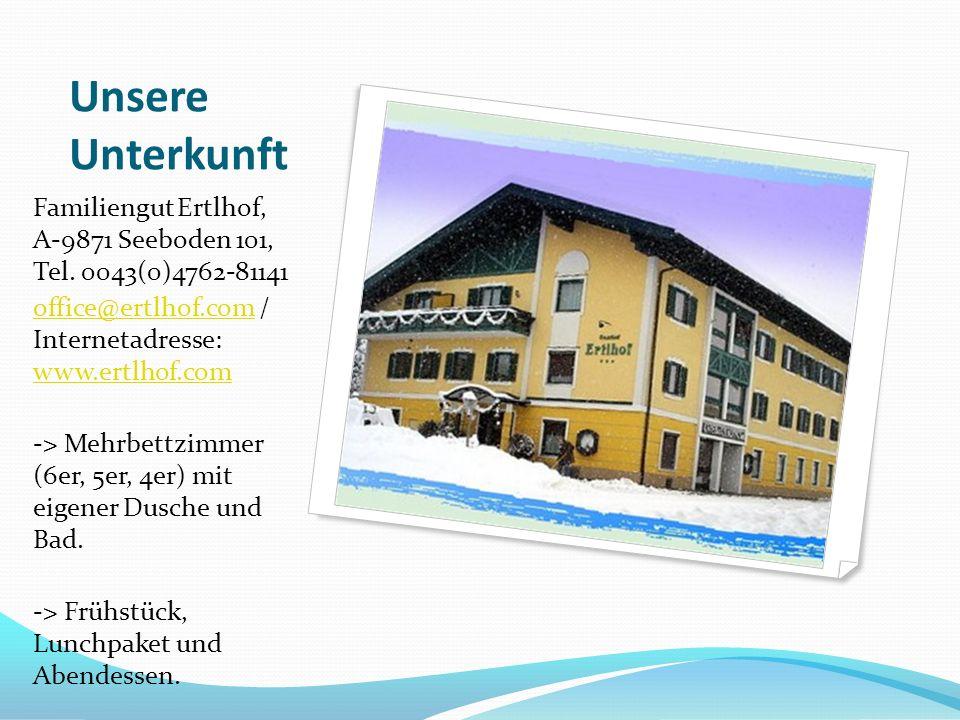 Unsere Unterkunft Familiengut Ertlhof, A-9871 Seeboden 101, Tel.