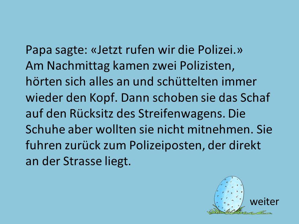 Text 27 Papa sagte: «Jetzt rufen wir die Polizei.» Am Nachmittag kamen zwei Polizisten, hörten sich alles an und schüttelten immer wieder den Kopf. Da