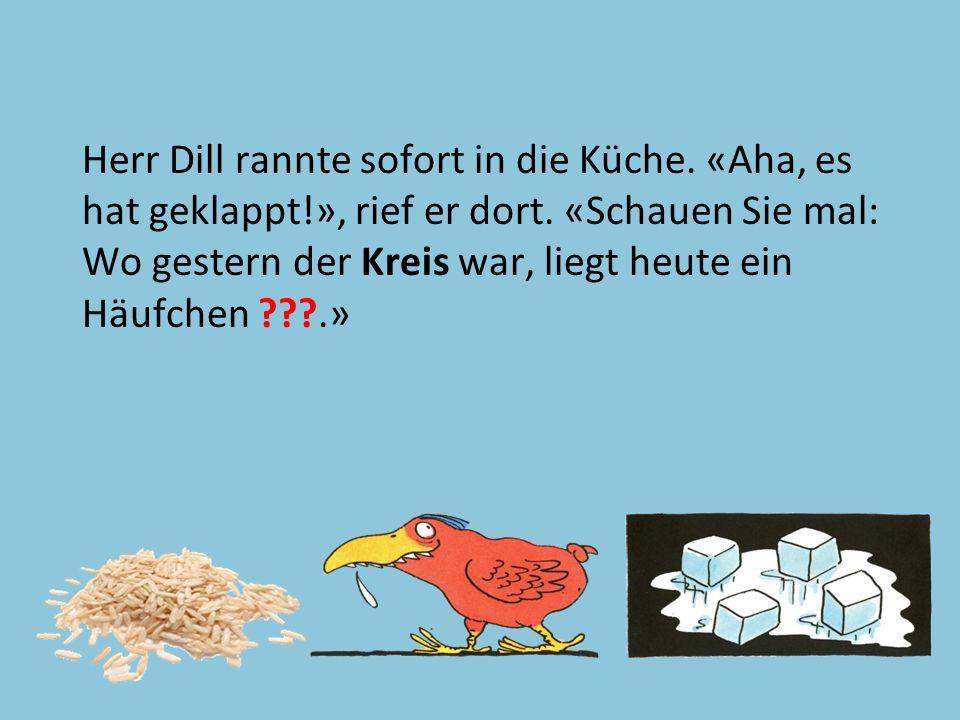 Text 47 Herr Dill rannte sofort in die Küche. «Aha, es hat geklappt!», rief er dort. «Schauen Sie mal: Wo gestern der Kreis war, liegt heute ein Häufc