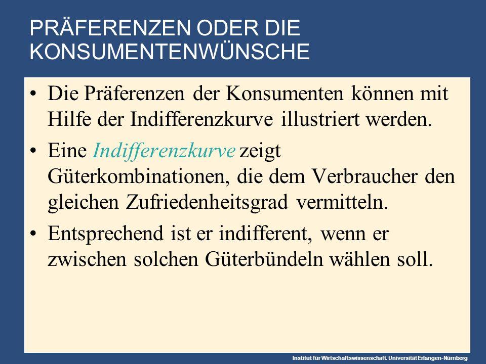 Institut für Wirtschaftswissenschaft. Universität Erlangen-Nürnberg PRÄFERENZEN ODER DIE KONSUMENTENWÜNSCHE Die Präferenzen der Konsumenten können mit