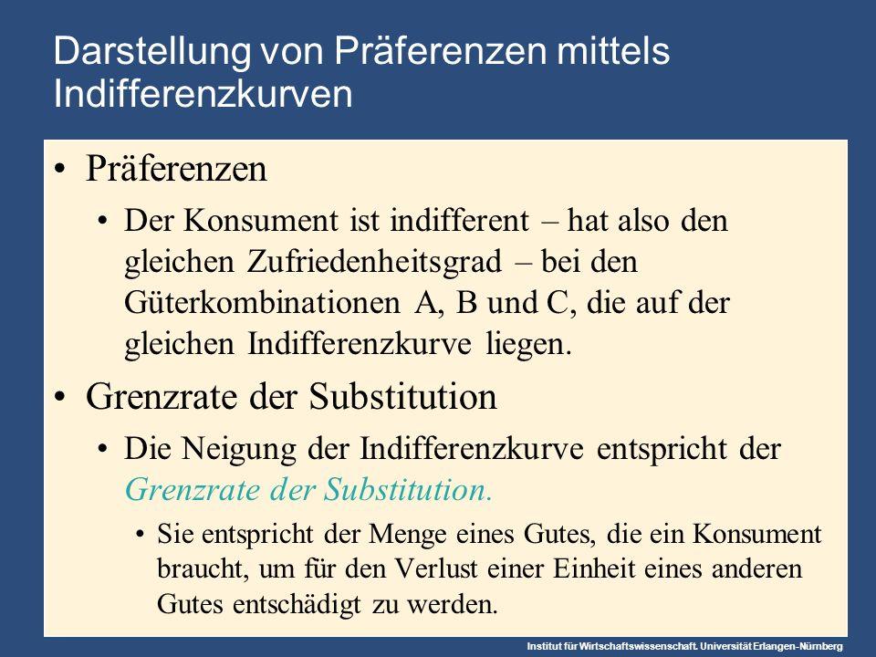 Institut für Wirtschaftswissenschaft. Universität Erlangen-Nürnberg Darstellung von Präferenzen mittels Indifferenzkurven Präferenzen Der Konsument is